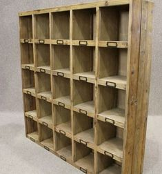 This reclaimed pine bookcase letter rack has 25 pigeon holes,perfect for all types of storage in many areas of the home. An unusual industrial vintage style