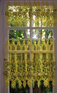 Lace Kitchen Curtains Yellow Lace Curtains Tier By HatchedinFrance, $49.00