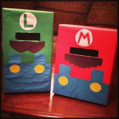 Mario and Luigi valentine boxes I made for the boys.:
