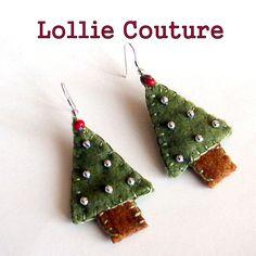 Christmas Tree Felt Earrings Holiday Winter Jewelry Green