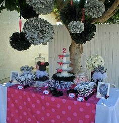 Shelly White!!! I thought about little Harper and her first Birthday :):) The Pastry Chick: Pretty Pink and Zebra Print Minnie Party