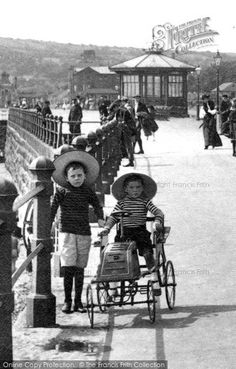 Penzance, A Toy Car On The Promenade 1908 #vintagetoys #besidetheseaside #history #photography #francisfrith