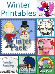 Round Up of Winter Printables from 3 Dinosaurs