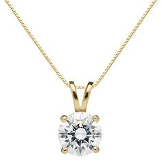 """14K Solid Yellow Gold Round Cut Cubic Zirconia Solitaire Pendant Necklace (1.25 carat, Diamond Equivalent), 18"""" Box Link Chain, Gift Box"""