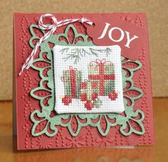 Christmas Card with coss-stitch. Very cute inspiration from http://www.splitcoaststampers.com/