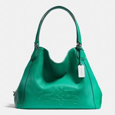 The Embossed Horse And Carriage Edie Shoulder Bag In Pebbled Leather from Coach