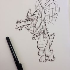 A goofy dragon in the sky Look out below as he flies by. Cartoon Drawings, Cartoon Art, Art Drawings, Dragon Drawings, Illustration Sketches, Drawing Sketches, Drawing Ideas, Cartoon Dragon, Animal Sketches