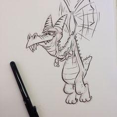 A goofy dragon in the sky Look out below as he flies by.  #dragon #brushpen #breaksketch #cartoon #poem #poetry #rhyme #verse #characterdesign