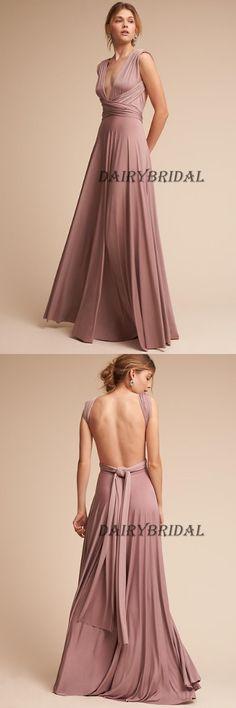 Deep V-Neck Bridesmaid Dress, Chiffon Bridesmaid Dress, Convertible Bridesmaid Dress, Floor-Length Bridesmaid Dress, Backless Bridesmaid Dress, LB0972