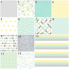 Adorable gender neutral nursery idea! Soft yellow, mint and gray. Love the arrows and triangles!