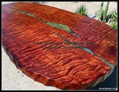 waterfall bubinga table