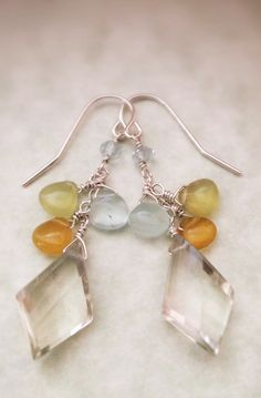 Faceted Green Amethyst Aquamarine Sterling