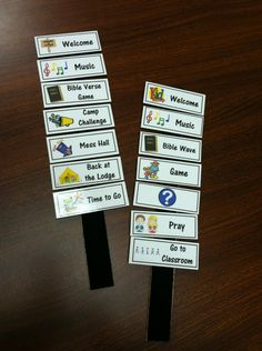 """Movable visual schedules on back of 12 inch rulers--great idea for beginning at a young age to help children with dyslexia and/or AD/HD organize the zillions of things that happen in a typical day---visual schedules allow child to concentrate on the """"important"""" things without having to expend energy to figure out the same routines over and over.  Can be phased out as child needs less support."""