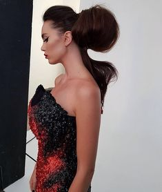 A behind the scenes shot of the stunning sculptural hair creation of on the lovely Gown by me . Hair Creations, Dressmaker, Australian Fashion, Corsets, Burlesque, Evening Gowns, Behind The Scenes, Wedding Gowns, Celebrity Style