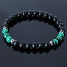 Matte Black Onyx Malachite Sterling Silver Bracelet Mens Women 925 DIYKAREN 241 #DIYKARENHandmade #MenWomenGemstoneSterlingSilverBracelet