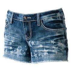 Klip Jeans Star Frayed Shortie Shorts - Juniors