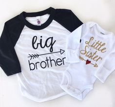 Big Brother Shirt Little Sister Shirt Sibling Photo Shoot Sibling Outfit Pregnancy announcement Little Sister Newborn Take Home Outfit Baby Boys, My Baby Girl, Big Brother Little Sister, Baby Sister, Big Sisters, Sibling Shirts, Sister Shirts, Big Sister Big Brother Shirts, Baby Outfits