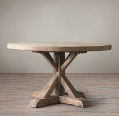 Our dining table. Rustic but elegant :) Distressed Elm Belgian Trestle Round Dining Table