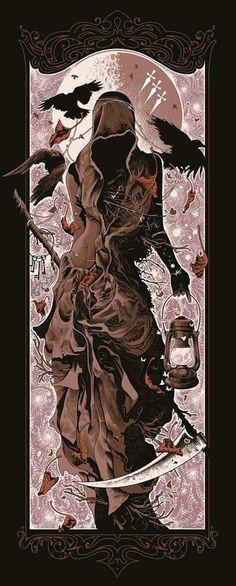 """Grim Reaper: ~ """"Silver Spring,"""" by Alex Wezta. Dark Fantasy Art, Dark Art, Art Et Illustration, Illustrations, Tattoo Avant Bras, Tatoo Bird, Art Noir, Bd Art, Bild Tattoos"""