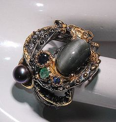 Free ship Natural Cat's eye Scapolite 925 Sterling Silver Ring Size 8.25