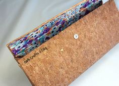 Cork Clutch Bag Fabric Clutch Bag Evening Night by CorkCraftsClay