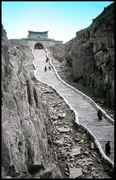 THE FLIGHT OF STAIRS to THE TEMPLE on TAI SHAN MOUNTAIN in OLD CHINA by Okinawa Soba, via Flickr