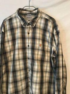 3b4863490f94a Carhartt Men 3XL Black Gray Green Plaid Cotton Long Sleeve Shirt 1429   eBay