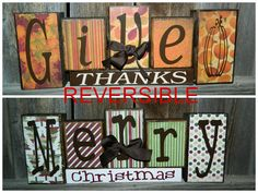 Reversible Christmas and Thanksgiving wood Blocks- Give Thanks reverses with Merry Christmas