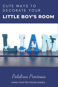 For tiny dinosaur lovers....these wood name letters are hand painted in shades of blue with contrasting wooden dinosaur decoration. A cute addition to any little boys room, nursery or birthday or baby shower celebration #dinosaur #boysroom #nurserydecor #babyroom #birthdaydecor #firstbirthday #babyshower Baby Name Letters, Baby Name Signs, Nursery Letters, Nursery Name, Dinosaur Kids Room, Dinosaur Room Decor, Tiny Dinosaur, Playroom Decor, Playroom Ideas