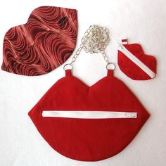 Set of three Lip Bags by Crafty Staci- Kiss Kiss
