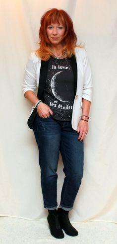 Fashion Fairy Dust tuxedo blazer, graphic tee, graphic t-shirt, boyfriend jeans, black ankle booties, statement necklace