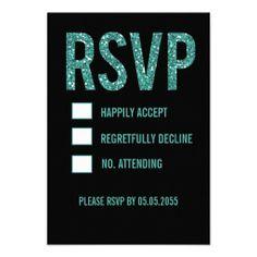 Black Turquoise Wedding | Black & Turquoise Glitter Glam Wedding RSVP Cards | Zazzle.co.uk