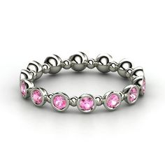 Seed & Pod Eternity Band, Sterling Silver Ring with Pink Sapphire from Gemvara