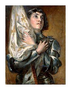 Robert Alexander Hillingford portrait of Saint Joan of Arc holding her banner across her chest.