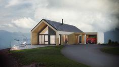 Knerten er et lite hus for flat tomt, med carport. Huset har store vindusflater og høy himling som gjør stue og kjøkken til luftige rom.