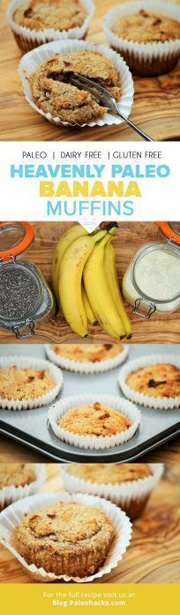 These Paleo Banana Muffins are sweet, moist and incredibly scrumptious! They taste just like banana bread but in a tasty bite-sized version. Paleo Muffin Recipes, Banana Recipes, Whole Food Recipes, Snack Recipes, Primal Recipes, Bread Recipes, Paleo Sweets, Paleo Dessert, Paleo Banana Muffins