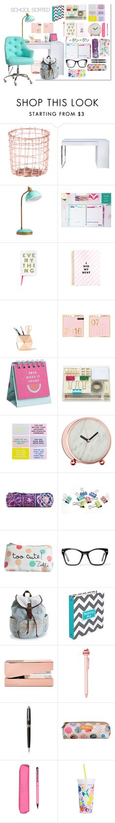 """""""School Sorted"""" by splash-of-collor ❤ liked on Polyvore featuring interior, interiors, interior design, home, home decor, interior decorating, Dot & Bo, TemaHome, PBteen and Kate Spade"""