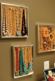 Corkboard jewelry organizer. Maybe this is the answer. Cheap, easy, pretty.
