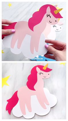 Unicorn Card Craft - Mother's Day Ideas - If you're searching for the perfect homemade Mothers Day card, this DIY unicorn card craft is gre - Mothers Day Crafts For Kids, Diy Mothers Day Gifts, Fathers Day Crafts, Craft Projects For Kids, Mothers Day Cards, Diy For Kids, Creative Ideas For Kids, Craft Kids, Unicorn Birthday Cards