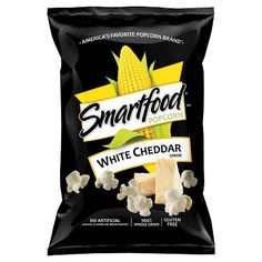 SMARTFOOD® White Cheddar Cheese Flavored Popcorn - perfect first-apartment snack White Cheddar Popcorn, Cheese Popcorn, Popcorn Snacks, White Cheddar Cheese, Flavored Popcorn, Smartfood Popcorn, Frito Lay Chips, Gourmet Recipes, Recipes