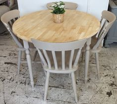 """Lovely round rubber-wood table. Painted in: Rustoleum 'Butterscotch' This sweet table sits on turned legs with a deliberate shabby chic finish. The legs can be removed for delivery and transport. All our items are refurbished or up cycled, so our products will have minor signs of use from their previous life. (Chairs not included) Approx. dimensions: 3ft6"""" round …"""