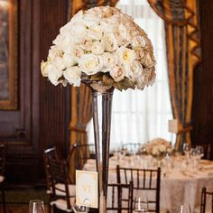 Tall White Rose Centerpieces
