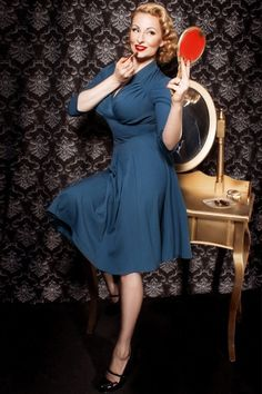 Miss Candyfloss - 50s Vedette Petrol Swing dress