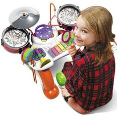 MyLine 8 Piece Musical Instrument Set by MyLine. $39.99. For ages 3 and up. Lovely design and beautiful sound. BPA free, lead free, phythlate free (Pass U.S. Customs inspection). Easy to assemble. 8 piece including Xylophone, Rattle-drum, Tambourine, Triangle, Cymbal, Drum, Trumpet, Cabasa. Color box with 8 piece inside including Xylophone, Rattle-drum, Tambourine, Triangle, Cymbal, Drum, Trumpet, Cabasa.  This set will get all the little ones involved in the fun of ma... Tambourine, Color Box, Trumpet, Musical Instruments, Lead Free, Little Ones, Musicals, Triangle, Education