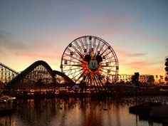 Paradise Pier at sunset.
