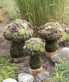 Mushroom Topiaries eclectic garden sculptures