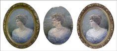 Anversos de retrato femenino, inicial, proceso de intervención y final. Esta obra presentaba importantes repinte 💚