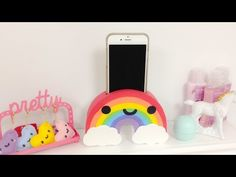 DIY Rainbow Phone holder-EASY Room Decor ideas., My Crafts and DIY Projects