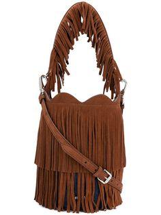 Shop Miu Miu fringe-trimmed bucket bag