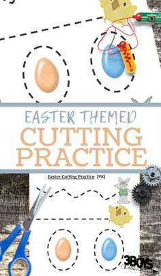 The kids will have so much fun with this Easter Cutting Practice! This free preschool cutting worksheet will help your preschool and kindergarten children work on improving their scissor skills and fine motor skills. Ovals, Easter Activities For Kids, Printable Activities For Kids, Educational Activities, Easter Worksheets, Preschool Worksheets, Preschool Activities, Preschool Cutting Practice, Free Preschool, Skills To Learn